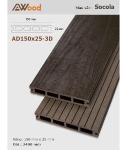 Sàn gỗ AWood AD150x25-3D Socola